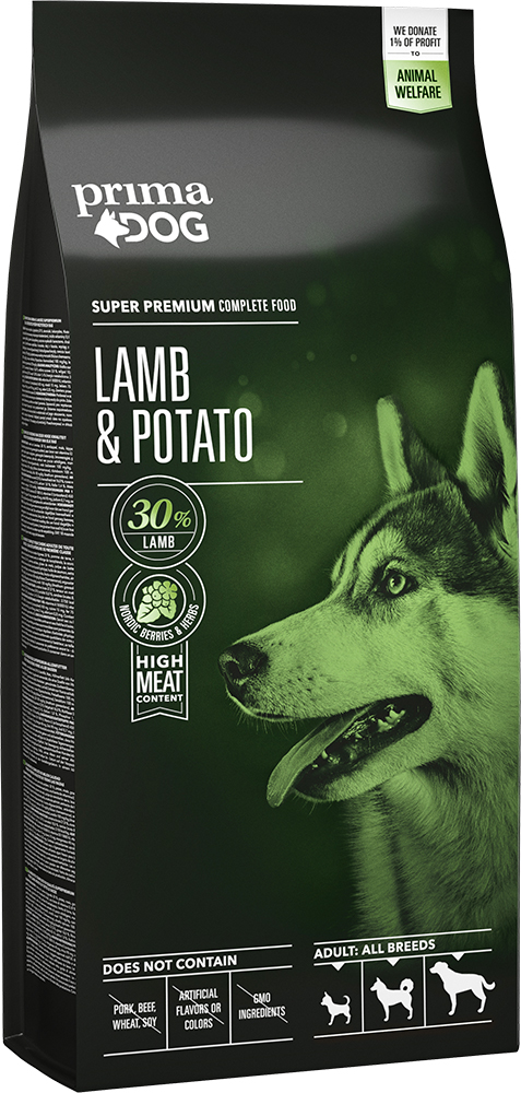 PrimaDog Adult All Breeds Lammas-peruna 12 kg